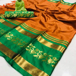 Snazzy Mustard And Green Color Designer Cotton Silk Saree