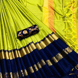 Flawless Lime And Navy Blue Color Designer Cotton Silk Saree
