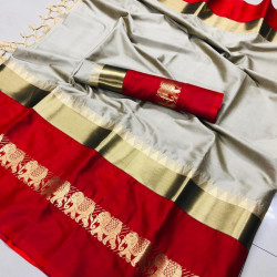 Sizzling Grey And Red Color Designer Cotton Silk Saree