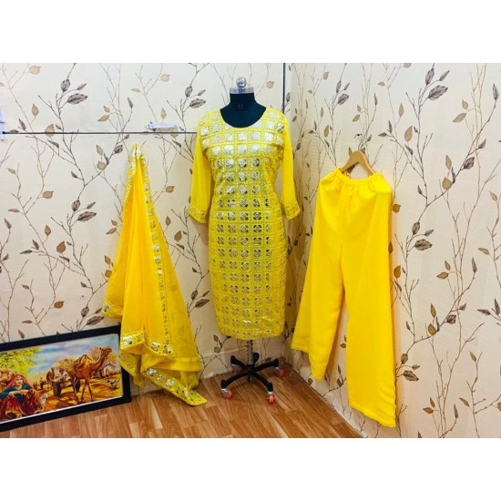 Flawless Yellow Color Embroidered Georgette Designer Top Plazzo Dupatta Set