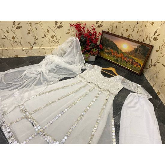 Dreamy White Color Paper Mirror With Embroidery Worked Top Bottom Dupatta Set