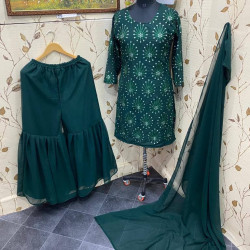 Graceful Bottle Green Color Embroidered Sharara Plazzo