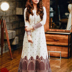 Staring White And Pink Color Embroidered Designer Top With Bottom